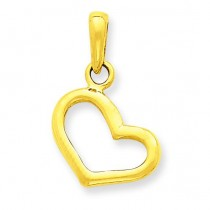 Plain Heart Pendant in 14k Yellow Gold