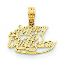 Talking Happy Birthday Pendant in 14k Yellow Gold