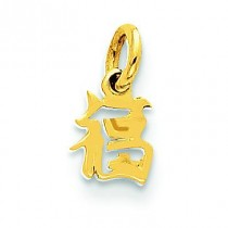 Chinese Symbol Good Luck Charm in 14k Yellow Gold