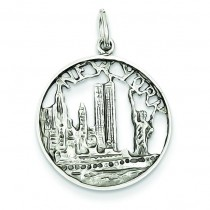 New York City In Disc Charm in 14k White Gold