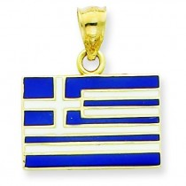 Greece Flag Pendant in 14k Yellow Gold