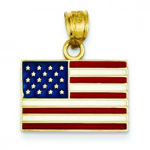 United States Flag Pendant in 14k Yellow Gold