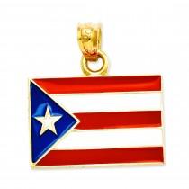 Puerto Rico Flag Pendant in 14k Yellow Gold