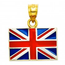 United Kingdom Flag Pendant in 14k Yellow Gold