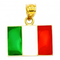 Italy Flag Pendant in 14k Yellow Gold
