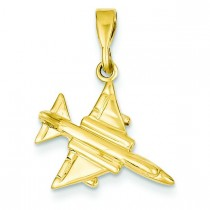 Fighter Jet Pendant in 14k Yellow Gold