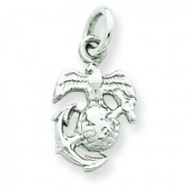 US Marine Corps Insignia Charm in 14k White Gold