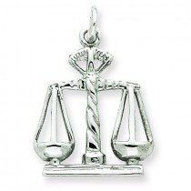 Open Backed Large Scales Of Justice Charm in 14k White Gold