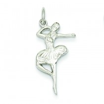 Flat Backed Ballerina Charm in 14k White Gold