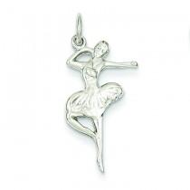 Flat Backed Ballerina Charm in 14k White Gold