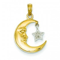 Open Backed Half Moon Star Pendant in 14k Two-tone Gold