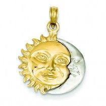 Sun Moon Pendant in 14k Two-tone Gold