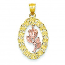 Flower In Oval Frame Pendant in 14k Two-tone Gold