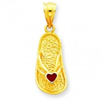 Red Sandal Pendant in 14k Yellow Gold