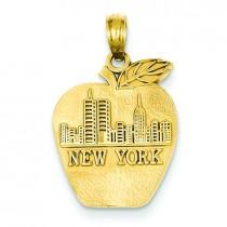 New York Skyline On Small Apple Pendant in 14k Yellow Gold
