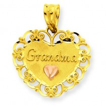 Grandma Heart Charm in 14k Two-tone Gold