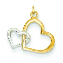 Double Heart Charm in 14k Yellow Gold