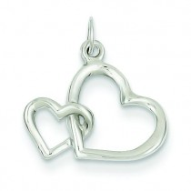 Double Heart Charm in 14k White Gold