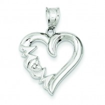 Diamond Mom Heart Pendant in 14k White Gold