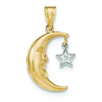 Open Backed Diamond Half Moon Star Pendant in 14k Two-tone Gold