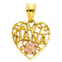 Nana Heart Pendant in 14k Yellow Gold