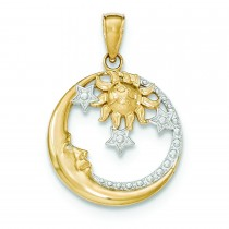 Moon Stars Sun Pendant in 14k Yellow Gold