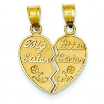 Big Sister Little Sister Break Apart Charm in 14k Yellow Gold
