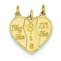 Piece Break Apart Big Sis Lil Sis Charm in 14k Yellow Gold
