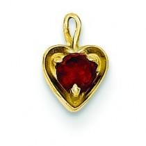 January Birthstone Heart Charm in 14k Yellow Gold