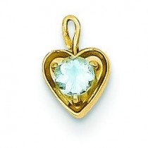 March Birthstone Heart Charm in 14k Yellow Gold