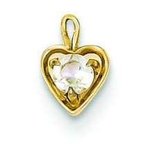 April Birthstone Heart Charm in 14k Yellow Gold