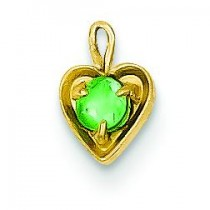 May Birthstone Heart Charm in 14k Yellow Gold