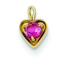 October Birthstone Heart Charm in 14k Yellow Gold