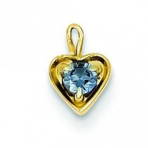 June Birthstone Heart Charm in 14k Yellow Gold