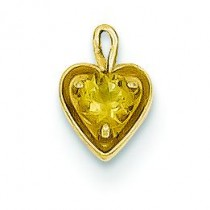 November Birthstone Heart Charm in 14k Yellow Gold