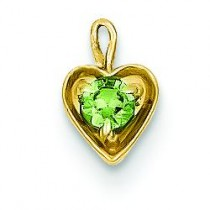 August Birthstone Heart Charm in 14k Yellow Gold