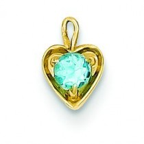December Birthstone Heart Charm in 14k Yellow Gold
