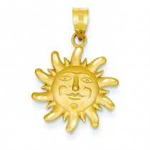 Diamond Cut Small Sun Charm in 14k Yellow Gold