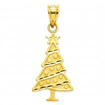 Christmas Tree Pendant in 14k Yellow Gold