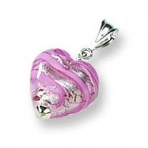 Rose Heart Murano Glass Pendant in Sterling Silver