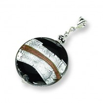 Murano Glass Striped Pendant in Sterling Silver