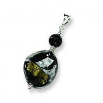Abstract Swirl Murano Glass Pendant in Sterling Silver