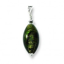 Green Murano Glass Pendant in Sterling Silver