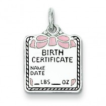 Pink Birth Certificate Charm in Sterling Silver