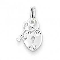 Lock Key Charm in Sterling Silver