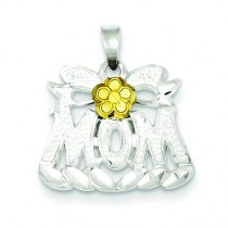 Mom Flower Charm in Sterling Silver