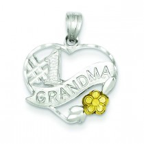 Number One Grandma Charm in Sterling Silver