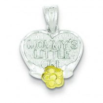 Mommy Little Girl Heart Charm in Sterling Silver