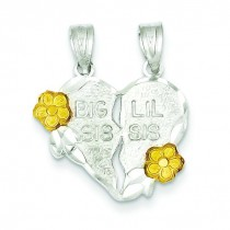 Big Sis Lil Sis Piece Break Apart Heart Charm in Sterling Silver