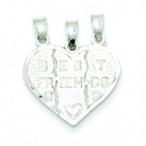 Best Friend 3 Piece Break Apart Heart Charm in Sterling Silver